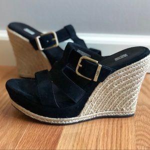 UGG Hedy Black Suede Jute Wedge Heel Sandals